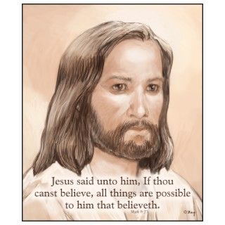 Jesus Art Bible Quote   Mark 9:23 Photo Cutouts