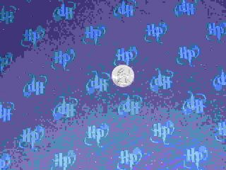 Harry Potter Initials Blue Glitter 33 Cotton Fabric