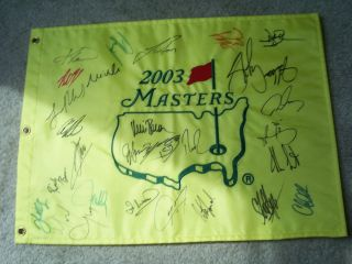 2003 MASTERS GOLF FLAG FIELD SIGNED MIKE WEIR AUGUSTA NATIONAL 03 PGA