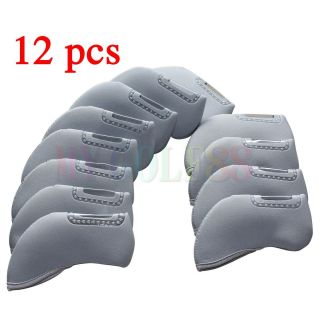 12x Gray Golf Iron Head Covers Set Headcovers Neoprene For Titleist