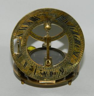 GREAT LARGE ROUND BRASS SUNDIAL COMPASS, HATTON GARDEN LONDON