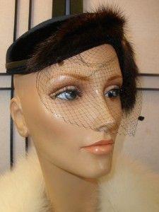 Vtg 40 50s Velvet Mink Fur Sculpted Side Tilt Rhinestone Cocktail Veil