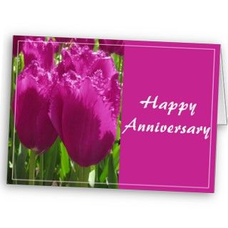 Beautiful tulips with HAppy Anniversary wishes. Customizable text.