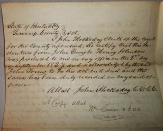 1827 Indenture Greenup Co KY John Young Hockaday Johnson Eastham