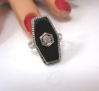 Amazing Detail True Antique Deco 14k White Gold Filigree Diamond Black