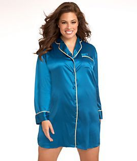 Linda Hartman Classic Stretch Satin Nightshirt Plus Size
