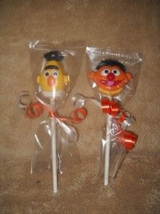 Street Elmo Ernie Bert Zoe Oscar Grover Head Lollipops Lollipop