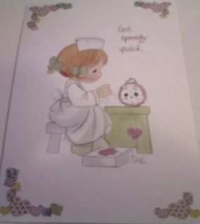 Precious Moments Get Well Greeting Card with Nurse