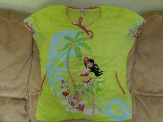 Koi Hawaiian Girl Scrub Top Green Pink Large
