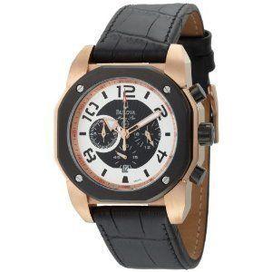 Bulova Mens Marine Star Black Leather Strap Watch 98B138