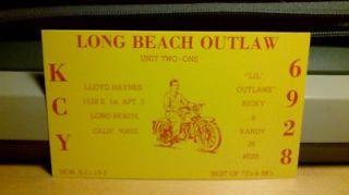 citizens band CB radio QSL postcard motorcycle biker Haynes 1970s Long