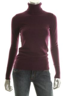 Hayden New Purple Cashmere Ribbed Trim Long Sleeve Turtleneck Sweater