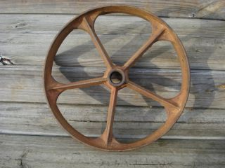 Antique Heavy Cast Iron Implement Wheel Pulley 14 Inches