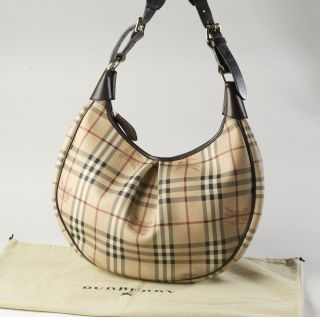 Burberry Haymarket Plaid Hobo Bag w Brown Leather Trim Dust Bag