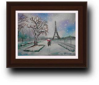 Paris Eiffel Tower Couple Winter Snow Scene Original Painting Gordon