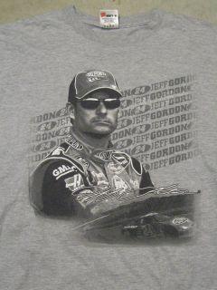 Authentics NASCAR Jeff Gordon 24 Mens L Gray T Shirt Short Sleeve
