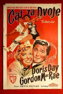 Tea for Two Doris Day 1950 Gordon MacRae Unique RARE EXYU Movie Poster