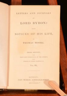 Letters and Journals of LORD BYRON notice THOMAS MOORE Third Edition
