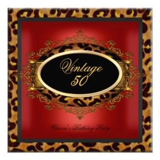 Leopard Red Gold Black Birthday Party Vintage 50 Custom Invite
