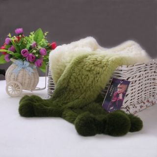 Hot Top Elegant Farms Real Rex Rabbit Fur Scarf Wrap Shawl Cape