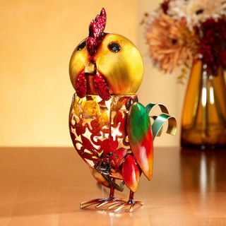 METAL ART Rooster Table Top Electric Luminary Night Light Figurine