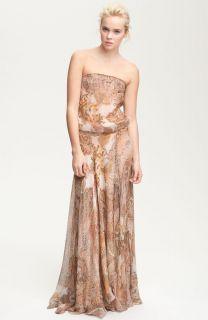 595 Haute Hippie Strapless Paisley Print Chiffon Maxi Dress Size S