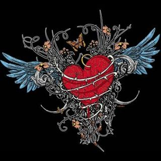 Gothic Heart Butterfly Thorns Tribal T Shirt s M L XL