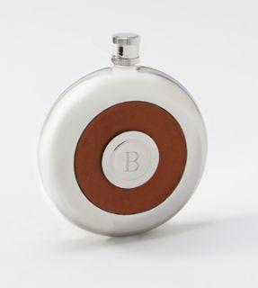 Oxford Round Leather Flask w Shot Groomsmen Gift