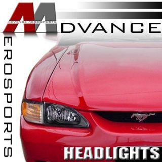 Black Housing Clear Lens Headlights Headlamps L R 94 98 Mustang V6 GT