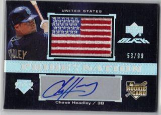 Chase Headley 2007 UD Black Rookie Auto USA Logo 53 99