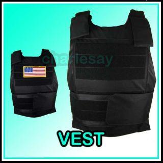 Tactical Black Hawk Down Army Body Armor Plate Vest Blk
