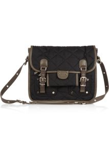 Sonia Rykiel Leather trimmed quilted shell shoulder bag   65% Off