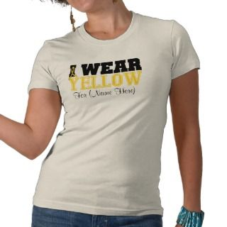 Personalize I Wear Yellow Bladder Cancer Shirt