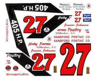 27 Junior Johnson Hannaford Pontiac 1 64th HO Scale Slot Car Decals