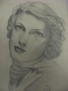 Marguerite Strickland Portrait Pencil Sketch Drawing Jean Heap