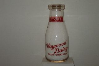 vintage haywood dairy milk bottle hoxie rhode island ( unused )
