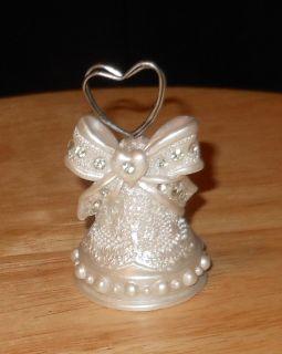 Set of 8 Wedding Bell Rhinestone Heart Place Card Holders BNIB