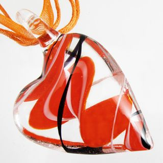 Lampwork Murano Art Glass Heart Shaped Pendant Ribbon Necklace Cord