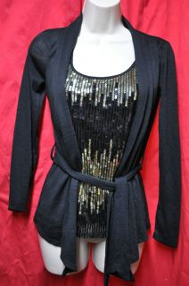 Heart Soul Sequined Sweater Top Gold Black XS