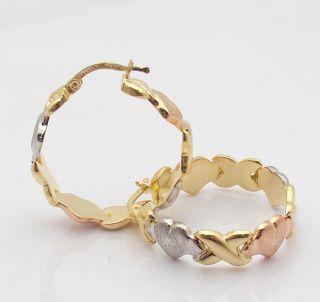 Hearts Kisses Hoop Earrings 14K Yellow Rose White Gold Clad