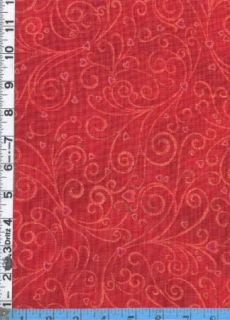 Fabric Hoffman Hearts Vines Gold Valentine Romance Red
