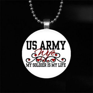 Photo Pendant   US Army Wife, Soldier Is My Life   Military   Necklace