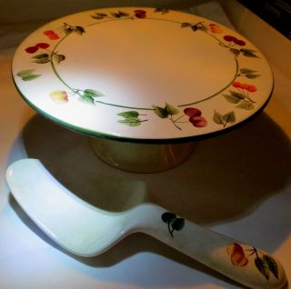 Cherrylicious Footed Cake Plate Gracey Knight Decor w Cherries Server