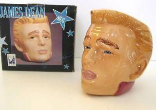 JAMES DEAN CUP Sculpted Toby Style Head Ceramic Mug 4.5 CLAY ART