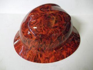 NEW Custom MSA V GARD Full Brim Hard Hat Orange Inferno Pattern
