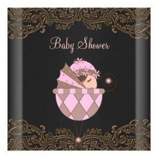 Pink Black Gold Lace Girl Baby Shower Invitations