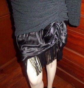 Vtg 80s Diamonds Run Flapper Style Black Dress Drop Waist Fringe Hem