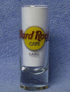Hard Rock Cafe Cairo Closed Black Letter Shot Glass Logo Free UPS