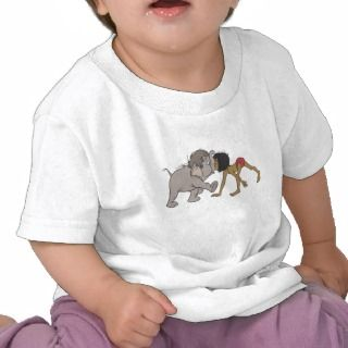 Jungle Books Mowgli With Baby Elephant Disney Tshirts