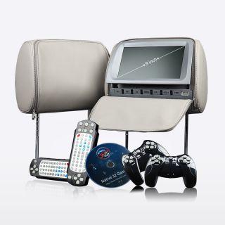 L0205 Grey 2x9LCD Pillow Headrest Monitor SD DVD Player Speaker Free